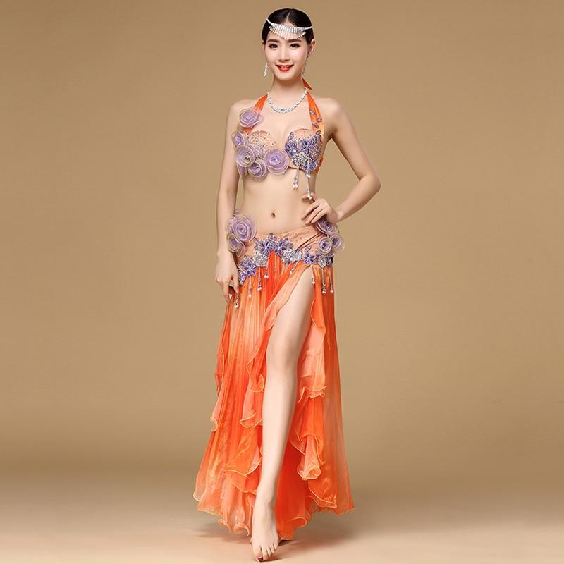 Bellydance Professional Costumes Egyptian Costume Set Stage Women Dancewear Performance Bra Belt Belly Dance Top Maxi Skirt