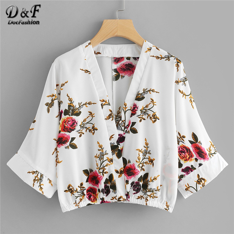 Dotfashion White Floral Print Kimono Sleeve Crop Blouse Women Casual Tops 2019 Clothing Spring Deep V Neck 3/4 Sleeve Shirt Relieving Heat And Thirst. Blouses & Shirts