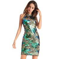 Womens Elegant Wedding Party Dress Sexy Night Club Halter Neck Sleeveless Sheath Bodycon Sequined Dress Short vestidos