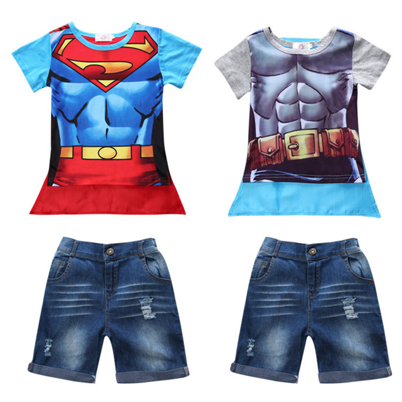 2017 Kids Clothes Children Boys Summer Clothing Sets Baby Superman Short Sleeve Set Roupas Infantis Menino Costume Suits New 2017 kids clothes baby boys mickey clothing sets roupas infantis menino menina costumes for children toddler girls tracksuits