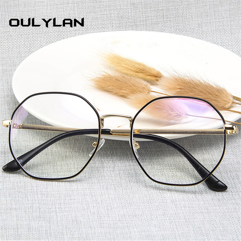 Oulylan Anti Blue Light Glasses Frame Men Women Vintage Round Clear Eyeglasses Male Metal Spectacle Frames Computer Eyewear