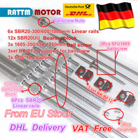 EU free VAT 3 ballscrew SFU1605 350/650/1050+3BK/BF12 & 3set BK/BF12 & 6pcs SBR20 Linear Guide rails & 3 couplers for CNC Kit