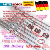 EU free VAT 3 ballscrew SFU1605 350/650/1050+3BK/BF12 & 3set BK/BF12 & 6pcs SBR20 Linear Guide rails & 3 couplers for CNC Kit