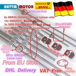 EU kostenloser MEHRWERTSTEUER 3 kugelumlaufspindel SFU1605-350/650/1050 + 3BK/BF12 & 3set BK/BF12 & 6 stücke SBR20 Linear Guide schienen & 3 kupplungen für CNC Kit