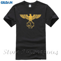 Latest Designs Gold Rammstein Eagle Logo Tshirts Men Males Custom Cotton Short Sleeve Big Size Tees