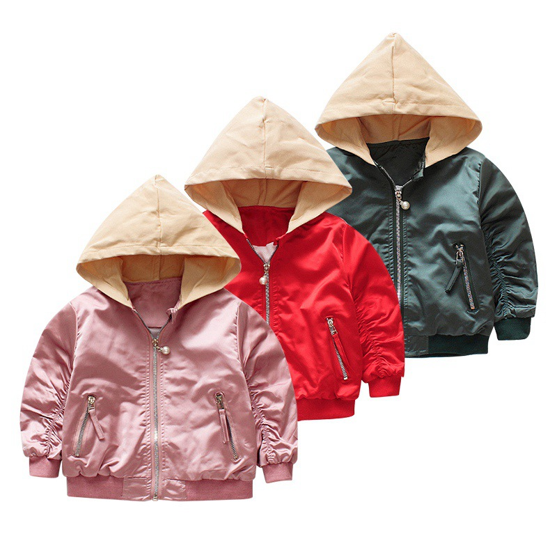 0-4 Years Old Children Coats Girls Hooded Jackets sequins embroidered girl short casual jacket full sleeve Pink Green Red color block bird embroidered raglan sleeve zip up jacket