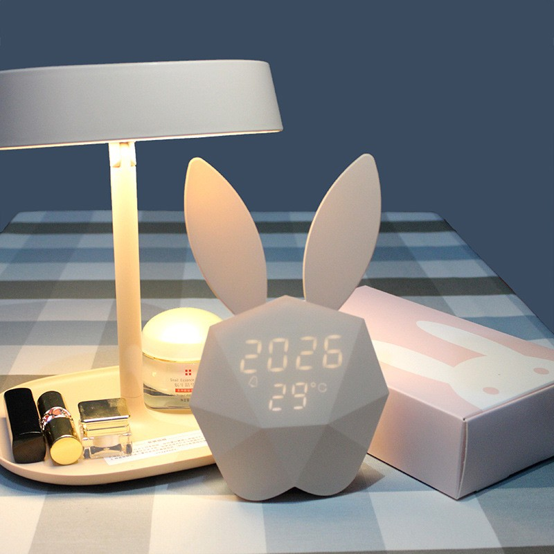 FENGLAIYI Cute Rabbit Digital Alarm Clock USB Charging LED Sound Night Light Table Wall Clock Home Decoration Thermometer Lamp