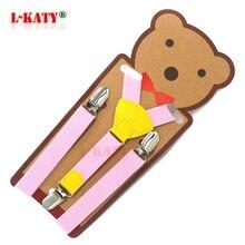 Fashion Solid Pink Clip-on Suspenders Leather Children Braces Y-back Strap belt Elastic 68cm*2.0cm 6 colors