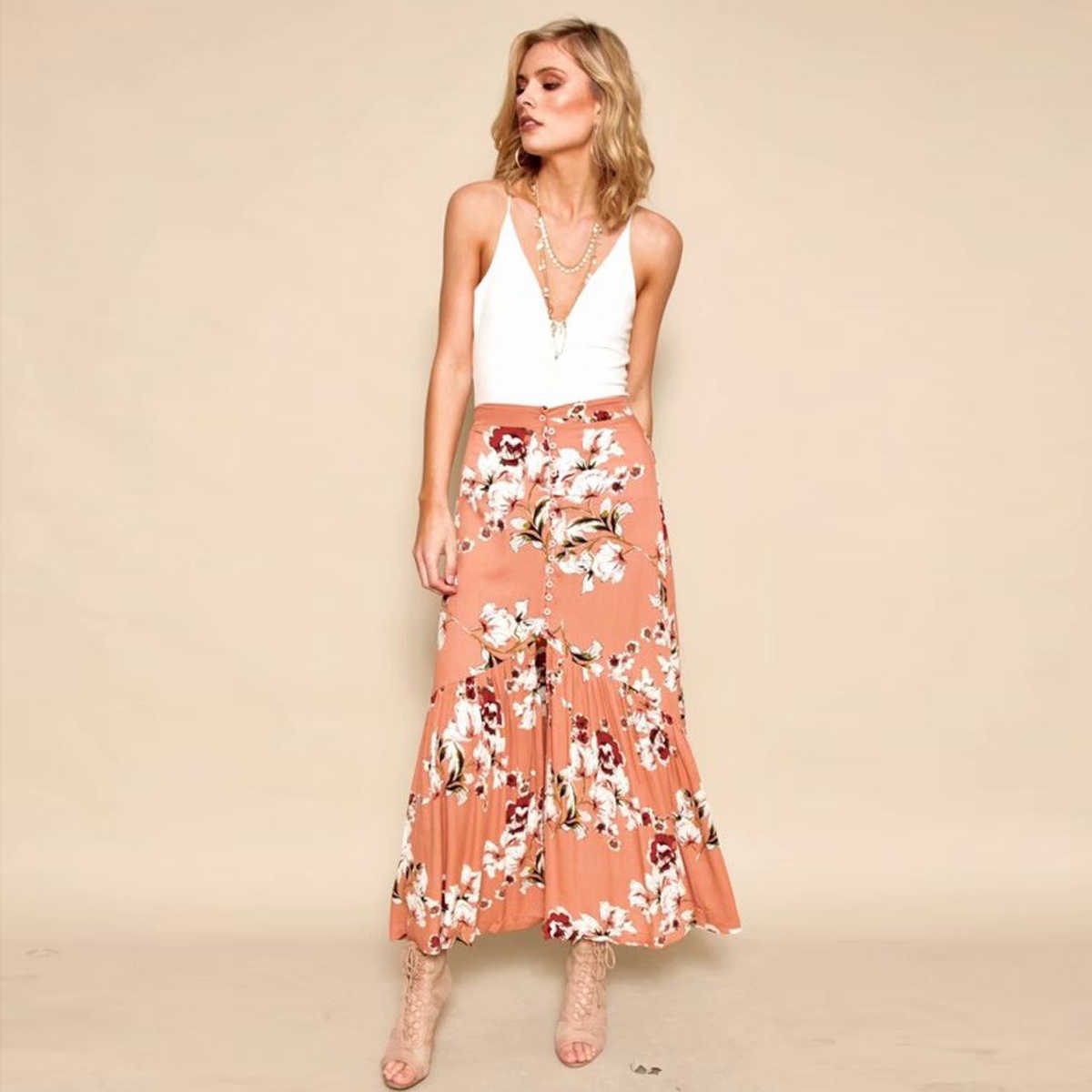 318f922c360 Jastie Vintage Floral Print Skirt Button Front Boho Hippie Split Sexy Long  Skirts Casual Beach Skirt Women 2018 Summer Skirts