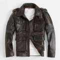 M65  Jacket Retro Men's Leather Jacket Edging Do The Old Locomotive First Layer Of Cowhide Lapel Jacket