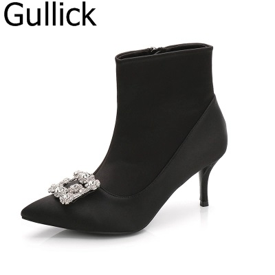 Hottest Selling Women Solid Black Elegant Pointed Toe Crystal Decoration Ankle Short Boots Fashion Low Thin Heel Party Shoes цена