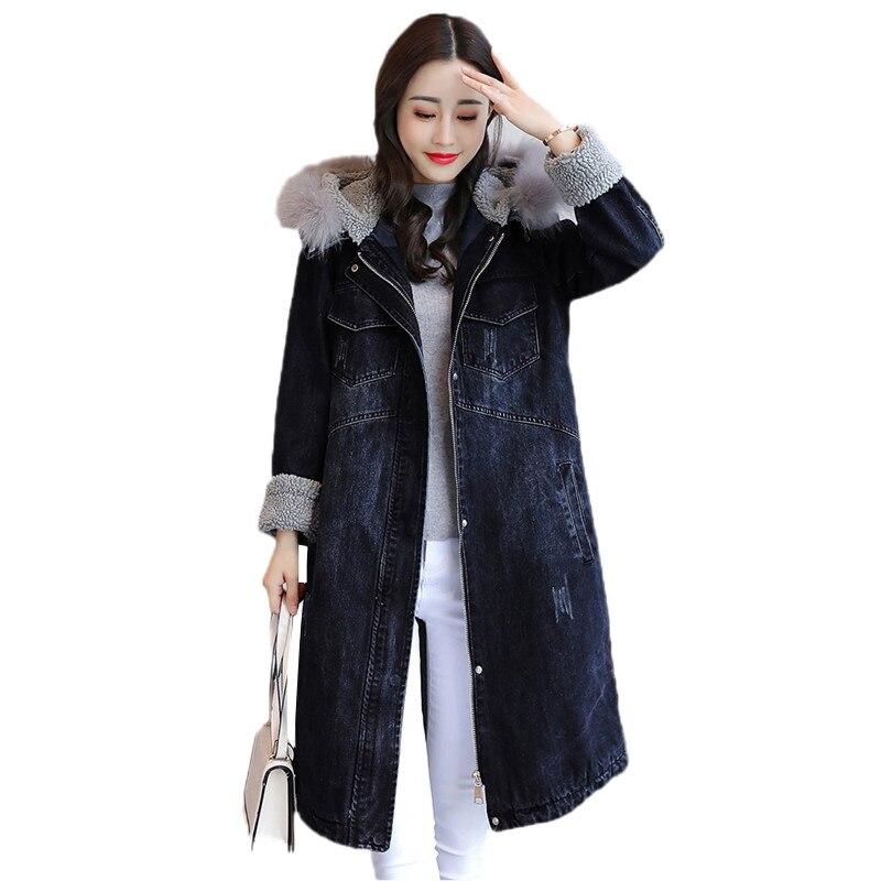 Longue Hiver Taille Lâche Coton Manteau Épaissir Style Veste Grande De Denim Jia171 Jacket Parkas 2019 Black Mode Boyfriend Femmes BrZrWXa