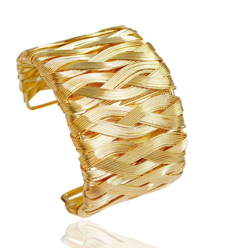 F&U Fashion Punky Style Waved Hollow Cuff Retro Braid Gold Bangles For Women Charm vintage Multilayer Wide Bracelet