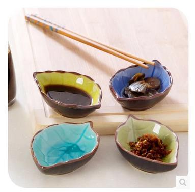 2pcs Creative small ceramic dish leaves shape Multi-flavored dish Kitchen crackle glaze tableware vinegar dressings