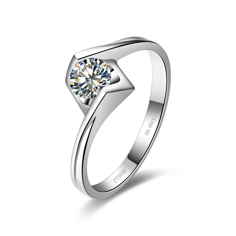 0.6CT Angel Kiss Style Solid 18K White Gold Brilliance Diamond Female Marriage Ring Perfect Wedding Anniversary Ring