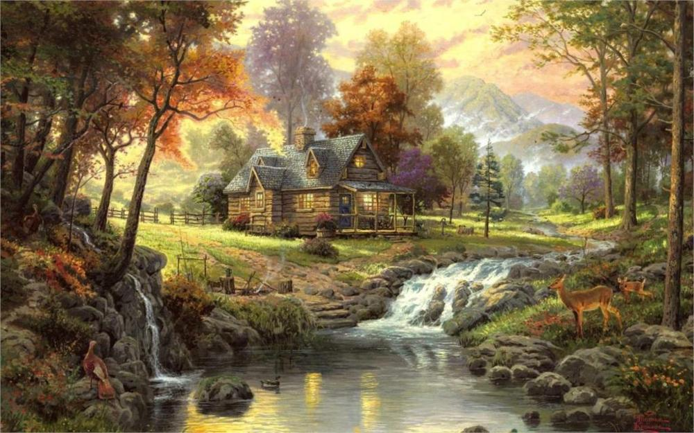 Fallout thomas kinkade paintings nature landscapes trees for Fallout 4 canvas painting