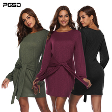 PGSD Autumn Mid waist Women dress A Line Sashes Dress long Sleeves Short Casual Round Neck Dresses Fashion Solid Party Dress black crossed design round neck long sleeves dress