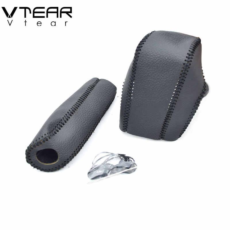 Vtear для Ford Focus 2 MK2 рукоятки рычага КПП из искусственной кожи рукоятки ручного тормоза Шестерни чехол рычага авто-Стайлинг ручной работы аксессуары