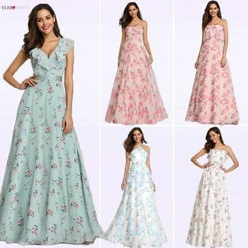 2019 New Bridesmaid Dresses Ever Pretty EP07242 Women Long Chiffon Printed Beach Dresses A-line Wedding Guest Party Dresses Bridesmaid Dresses and Gowns