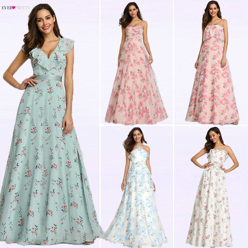 2019 New Bridesmaid Dresses Ever Pretty EP07242 Women Long Chiffon Printed Beach Dresses A line Wedding Guest Party Dresses