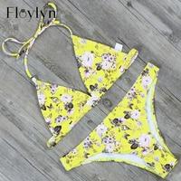Floylyn Triangle Sexy Floral Print Bikini Set Push Up Brazilian Thong Swimwear High Quality Biquinis Feminino