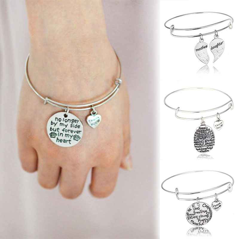 LNRRABC New Lettering Adjustable Bracelets Bangles Silvery Thank You Hollow Tree Multi Patterns Women Lady Girl Alloy Bangles