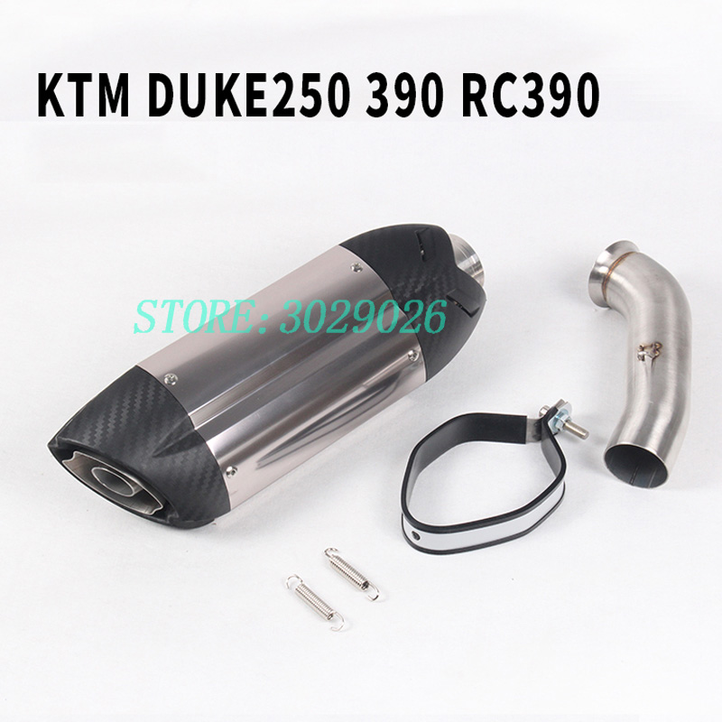 Motorcycle Akrapovic Exhaust With Link Pipe and Silencer Moto Pot Escape For KTM DUKE 390 250 RC 390 RC390 2017 2018 17 Slip-on