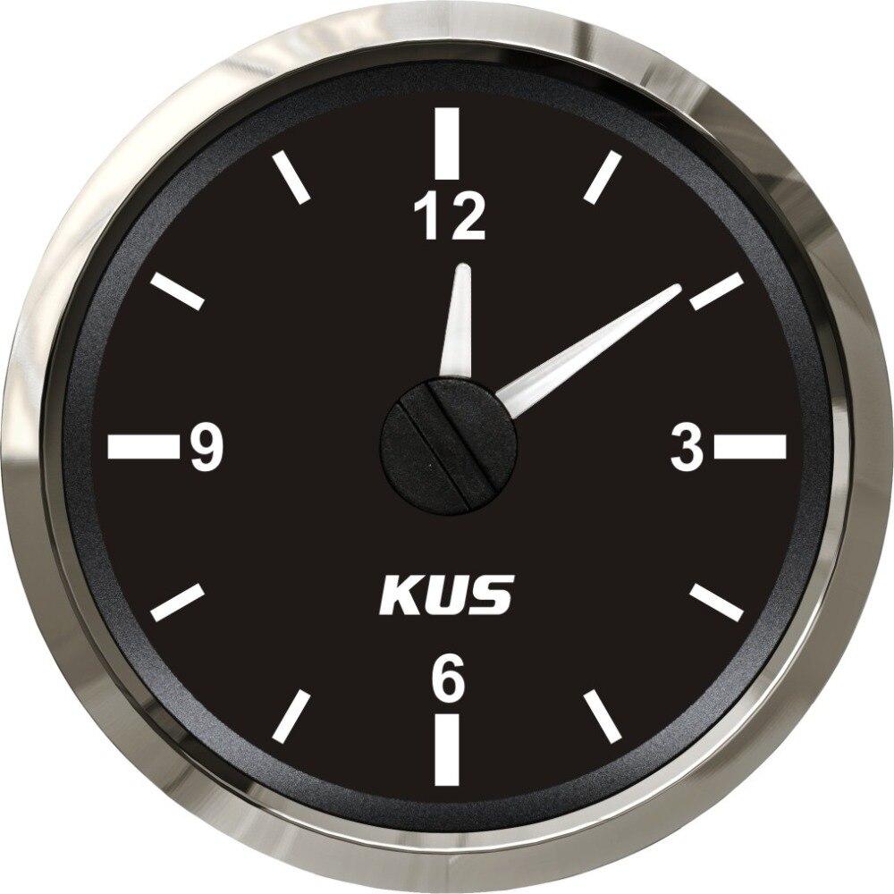 KUS 2 Auto Marine Boat Clock Meter Clock Gauge 12 Hour With Backlight