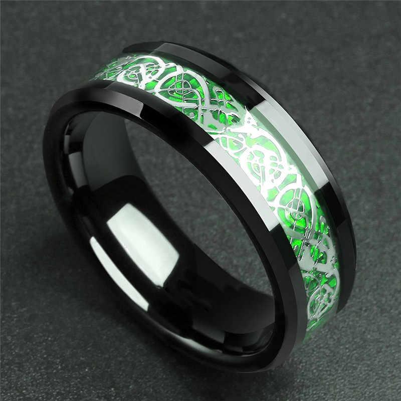 Homens Anel de Aço Inoxidável GS Vermelho Verde De Fibra De Carbono Preto Anel de Dragão Para Homens Mulheres Casal Casamento Anel de Banda De Titânio jóias R5H