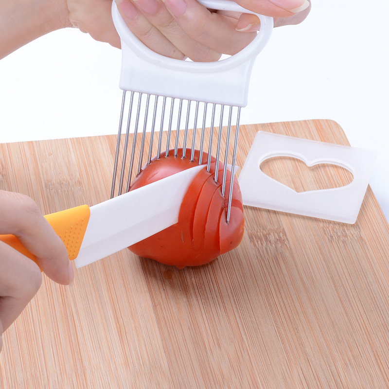Stainless Steel Onion Holder Potato Tomato Slicer Kitchen Gadgets Handy Meat Needle Vegetable Fruit Cutter Safety Cooking Tool