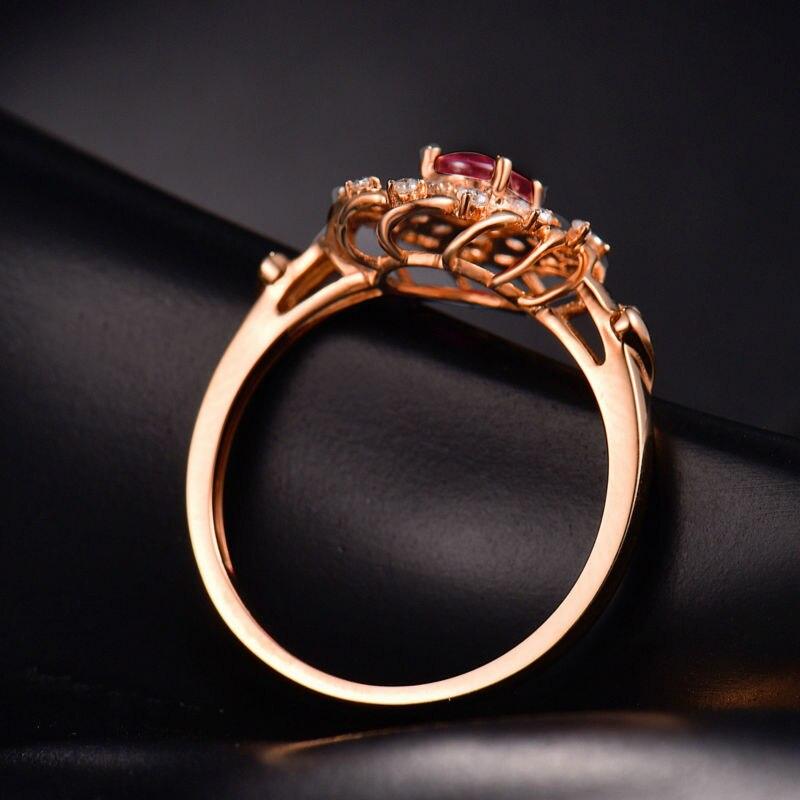 Ювелирные украшения Новый 18 К розовое золото Красный Рубиновый Diamond Ring овальные 4x6 мм Обручальные Кольца для дам wu302c
