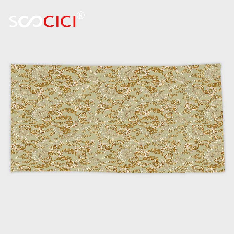 Custom Microfiber Ultra Soft Bath/hand Towel,Beige Decor Swirling Harp Pattern with Victorian Era Nostalgic Inspirations