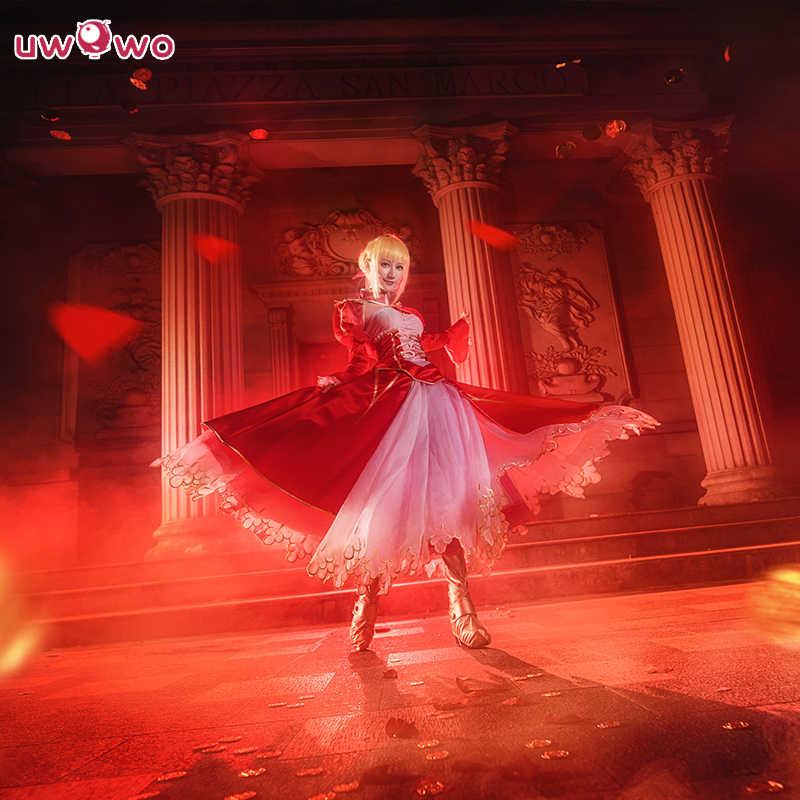 UWOWO сабля Косплэй без пальто артурия Пендрагон костюм аниме Fate Stay Night Saber Косплэй ебпр судьба ноль чехлы для телефонов Nero красное платье
