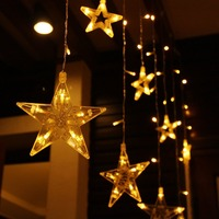 NEW LED String Warm White Christmas Ornaments Fairy Christmas Lights Outdoor Star Garland LED Curtain Party Decoration