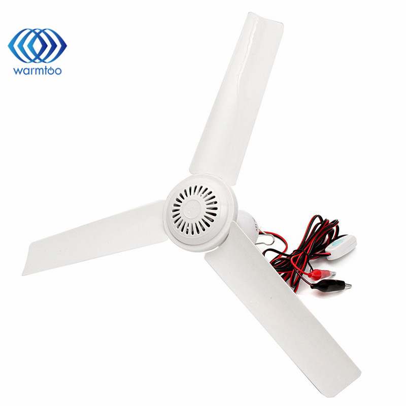 1Pc DC12V 6W Plastic 3 Leaves Brushless Converter Motor Battery Mini Ceiling Fan With Switch