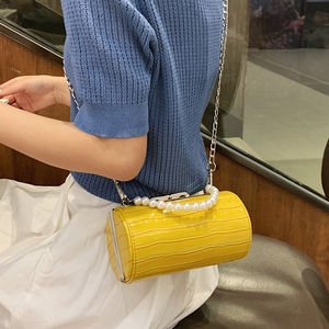 Image 4 - Stone Texture Cylindrical Pearl Handle Pu Fashion Casual Clutch Bag Ladies Shoulder Bag Handbag Women Crossbody Bag Female Bolsa