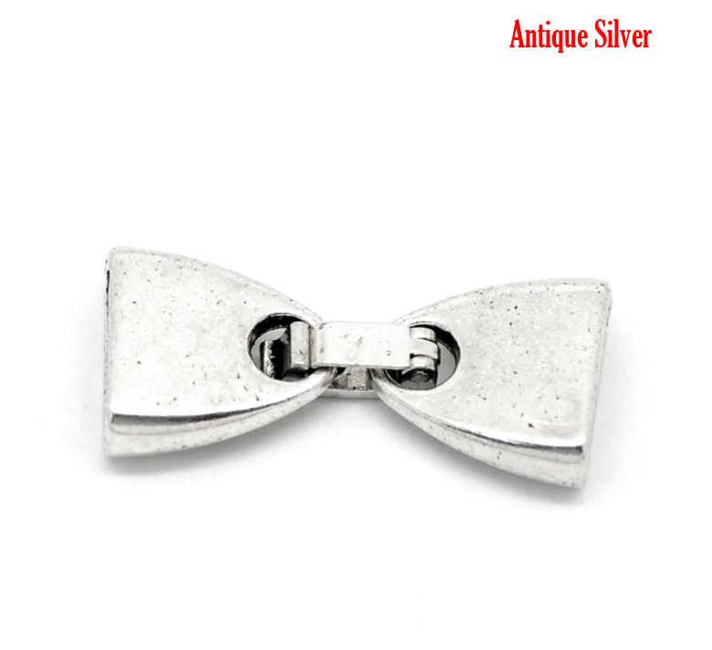 "DoreenBeads aleación de metal de Zinc collar cordón final consejos Bowknot de plata antiguo de 28mm (1/8 "") x 13mm (4/8"") 1 Set"
