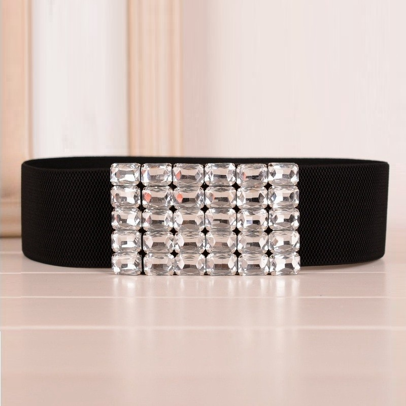 Womens Thick Floral Beaded Crystal Stone Belts Rhinestone Jeweled Waistband
