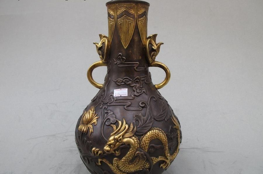 Royal 100% pure Bronze 24K Gold handwork Lotus Dragon Palace bottle pot vaseRoyal 100% pure Bronze 24K Gold handwork Lotus Dragon Palace bottle pot vase