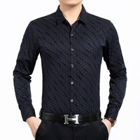 Fashion Print Men S Shirt Luxury Brand Business Men Dress Shirt Casual Slim Fit Long Sleeve