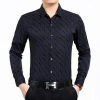 Fashion Print Men S Shirt Luxury Brand Business Men Dress Shirt Casual Slim Fit Long Sleeve
