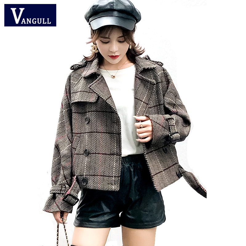 Fashion Casual Korean Women's Clothing 2018 Autumn & Winter Double Breasted Female Coats long sleeve Plaid loose   Basic     Jackets