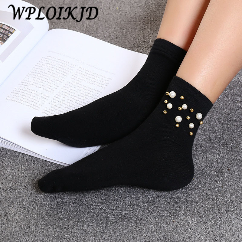[WPLOIKJD]Japan Harajuku Pearl Gold Silver Creative Female Funny   Socks   Women Art Sweet   Socks   Solid Hosiery Calcetines Mujer