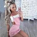 Мода короткие женщины комбинезон 2 Цвета S-XL 2017 новый Стиль Женщины Комбинезон Эксклюзивный Комбинезоны Ползунки заклепки Комбинезоны XD756
