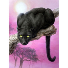 5D DIY Diamond Paintings Full Drill Round Black Leopard Mosaic Art Embroidery Animals Pattern Handmade Stickers Decoration Home