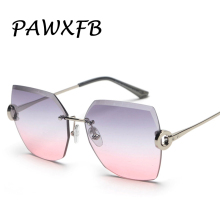 PAWXFB Brand 2019 Rimless Sunglasses Women Luxury Gradient Sun Glasses Ladies Shades