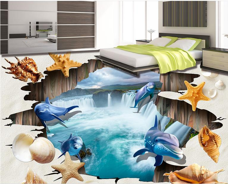 Beautiful Wallpaper 3d Flooring Living Room 3d Wallpaper Waterfall Dolphin Beach 3d Flooring Bathroom Wall Waterproof Wall beautiful darkness
