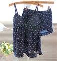 L601 yomrzl nueva llegada del verano sexy pantalones cortos de algodón pijama de mujer correa de espagueti establecen cojín de la correa ropa de dormir taza de mama