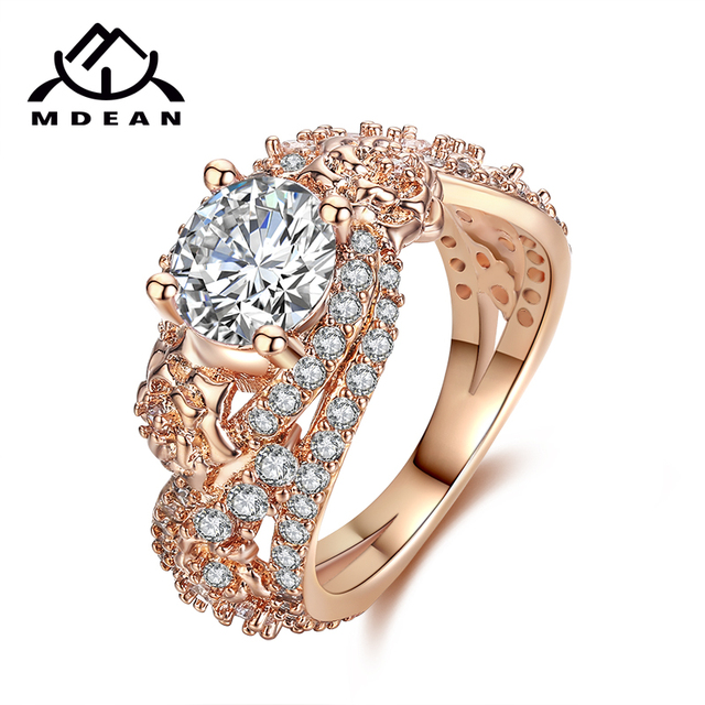 MDEAN Rosa Color Oro Anelli per Le Donne Wedding Ring AAA Zircone gioielli Bague