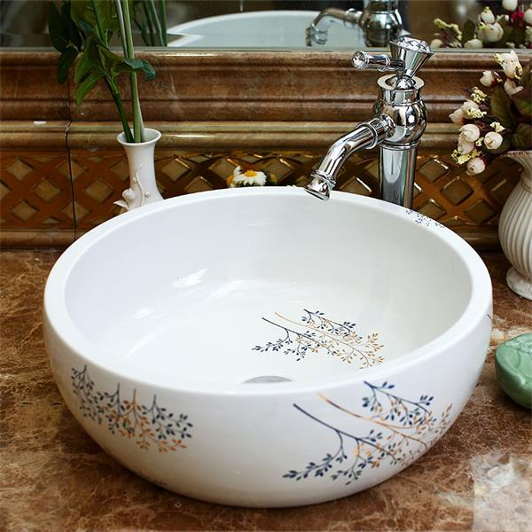 Bathroom Counter Top Wash Basin Cloakroom Hand Painted Vessel Sink Bathroom Sink Washbasins Bathroom Sinks Prices